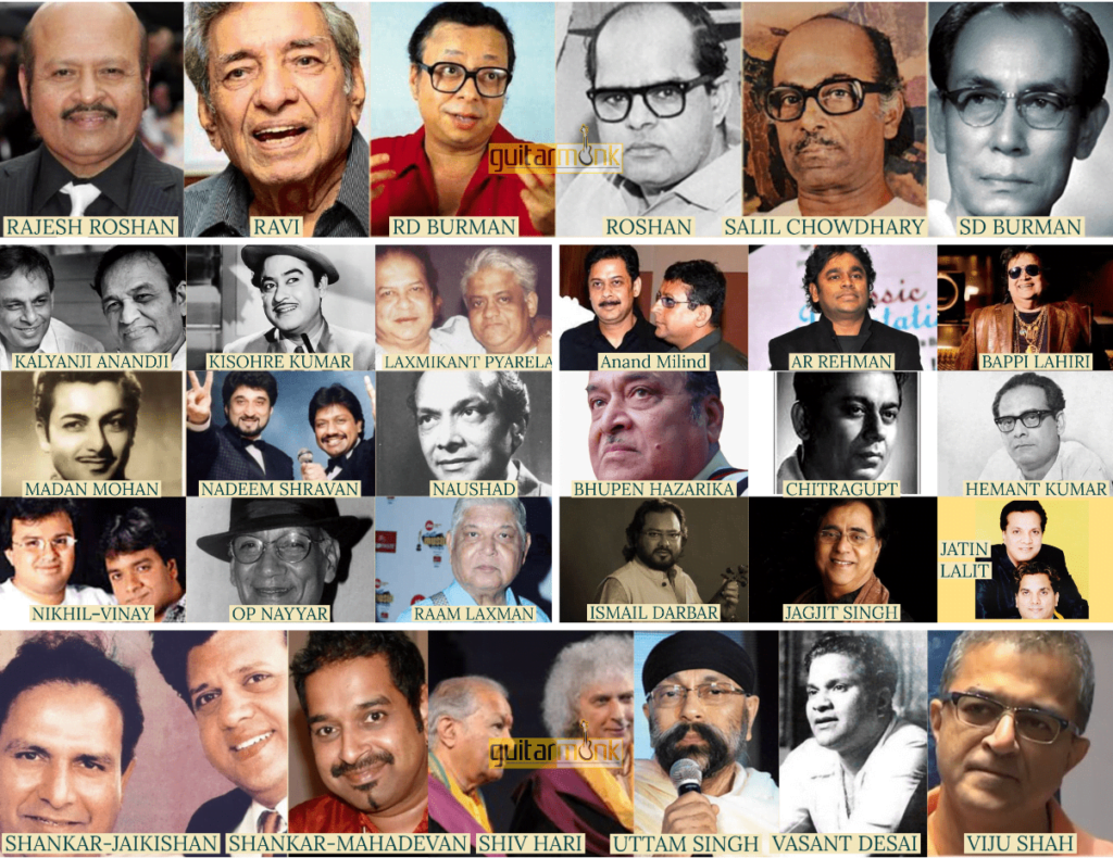 Indian Music Composers Directors Collage